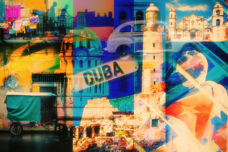 Colorful collage of Havana Cuba images with most of its famous landmarks