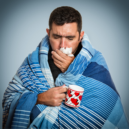 Photo for Portrait of a sick man with the flu, allergy, germs,cold coughing - Royalty Free Image