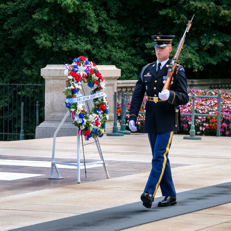Ceremonial guard at the Tomb of the Unknown Soldier at Arlington National Cemetery