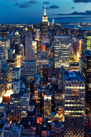 Photo for Aerial view of New York City illuminated at night - Royalty Free Image
