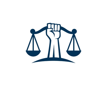 Illustration for Revolution Justice logo vector - Royalty Free Image
