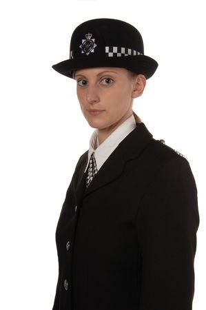 Uniformed UK female police officer isolated on white