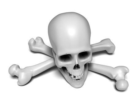Human skull and two femurs on white background