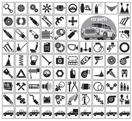 Car parts, tools and accessories. Eighty four icons and one image of a vintage car. Vector illustration on the white background