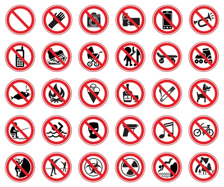 Set of thirty prohibiting signs for use in supermarkets, natural reserves, etc. Vector Illustration