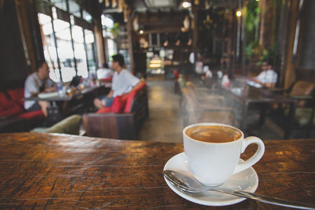 A cup of coffee in coffee shop.