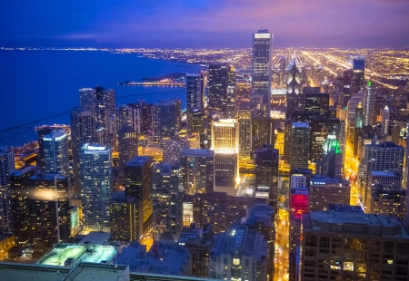 The Chicago skyline seen from hancock tower
