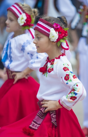 SAN DIEGO , CA - SEP 01 : Ukrainian folk dancers perform during Ukraine's Independence Day Celebration at the House of Ukraine in Balboa park , San Diego California on September 01, 2013