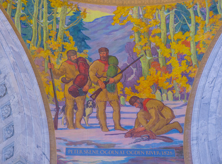 SALT LAKE CITY , UTAH - AUG 31 : Fresco in the Capitol Building interior in Salt Lake City, Utah on August 31 2014. The building was designed by architect Richard Kletting, and built between 1912 and 1916.