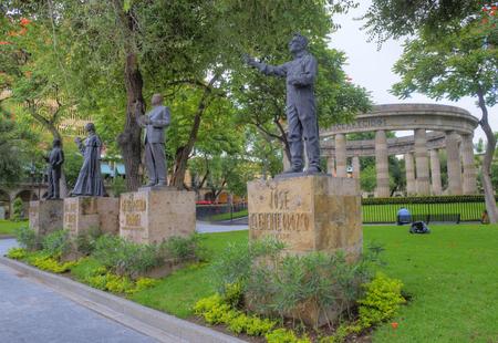 GUADALAJARA , MEXICO - AUG 29 : The Rotonda de los Jaliscienses Ilustres in Guadalajara Mexico on August 29 2016.  It honors the memory of the people of Jalisco