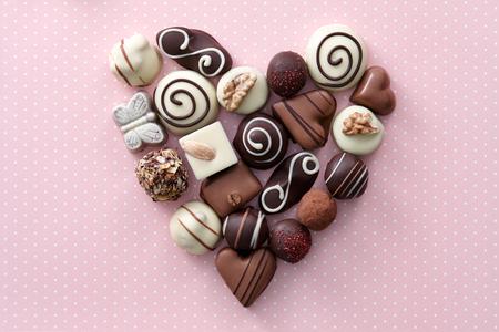 Foto de Chocolate candies heart shape composition. Sweet gift of love for St. Valentines Day. - Imagen libre de derechos