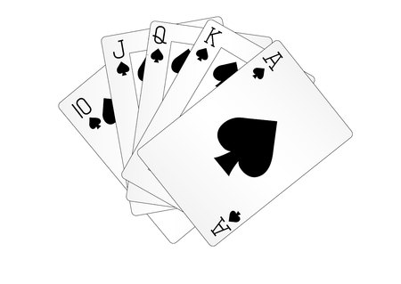 Ilustración de A royal straight flush playing cards poker hand in spades - Imagen libre de derechos