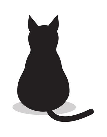 Illustration pour Black isolated cat, icon vector. Illustration background sign animal . - image libre de droit