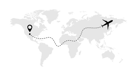 Illustration pour Airplane line vector icon of air plane flight route with start point and line trace . - image libre de droit