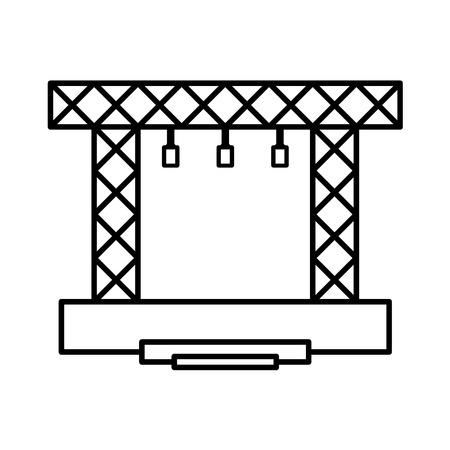 Illustration pour Stage vector constructions icon. Concert modern scene line . - image libre de droit