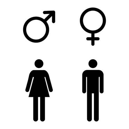 Ilustración de Male and female icon, symbol set. Website design vector illustration isolated on white background . - Imagen libre de derechos