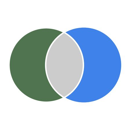 Illustration pour Venn diagram maths vector, Negative space, color modern icon - isolated on white background . - image libre de droit