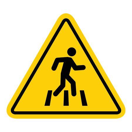 Illustration pour No walk icon access for pedestrians prohibition sign, vector illustration. No pedestrian sign . - image libre de droit