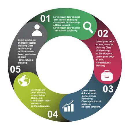 Illustration pour 5 steps vector element in five colors with labels, infographic diagram. Business concept of 5 steps or options with empty. - image libre de droit