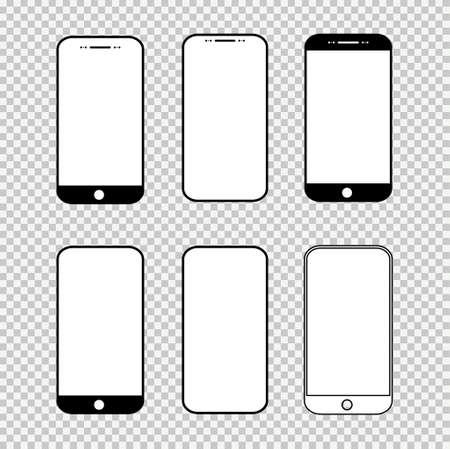 Illustration pour Set of smart mobile phone mock up, Smartphone technology template, realistic vector illustration. - image libre de droit