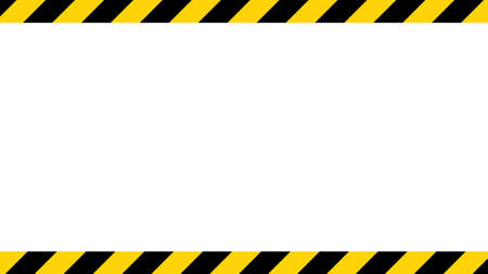 Illustration for Black and yellow diagonal line striped. Blank vector illustration warning background. Hazard caution sign tape. Space for attention text. - Royalty Free Image