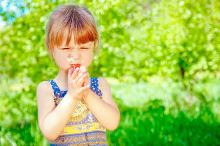 Photo for happy child blowing dandelion on nature in the park - Royalty Free Image