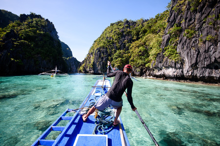 Paradise island and crystal clear water of El Nido, Palawan, Philippines.