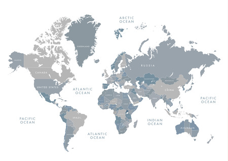 Illustration pour Highly detailed world map with labeling. Grayscale vector illustration. - image libre de droit