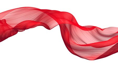 Photo pour Fabric Flowing Cloth Wave, Red Waving Silk Flying Textile, Satin on White Isolated Background - image libre de droit