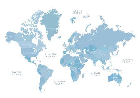 Illustration pour Blue world map with labeling - image libre de droit