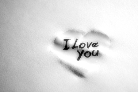 Photo for love sign on damp paper - Royalty Free Image