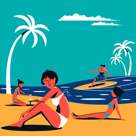 Vacationing people in swimsuits vacationing on the beach. Summer resort. Vector illustration.