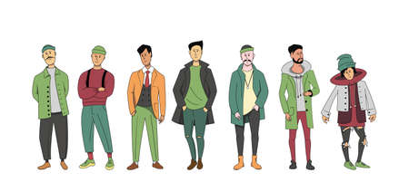 A group of different men of different ages standing together. A set of characters in street clothes.
