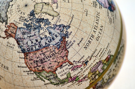 Globe North America. A globe is photoed by close-up.
