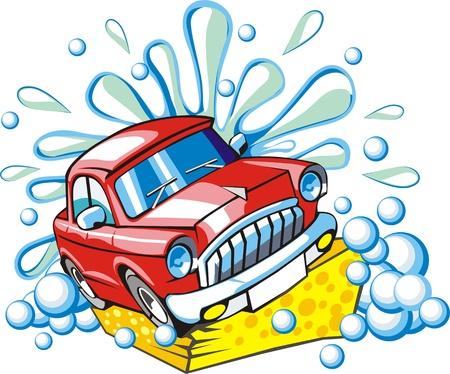 car washing sign with sponge