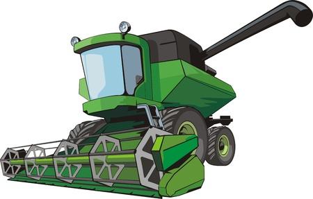 Old green harvesting agricultural combine