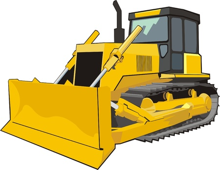 yellow caterpillar building bulldozer