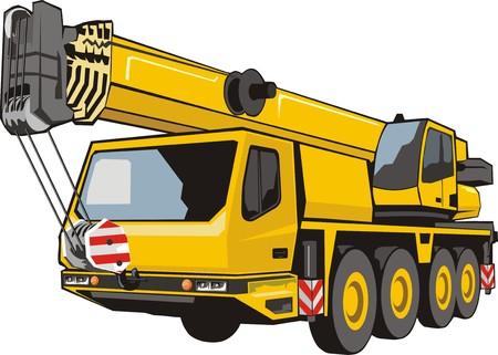 Ilustración de lifting tap with lifted by dart mobile heavy lifting crane - Imagen libre de derechos