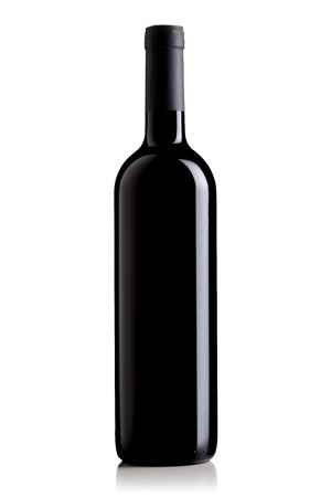 isolated red wine bottle on white background