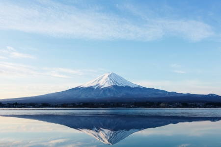an inverted image of Mt  Fuji