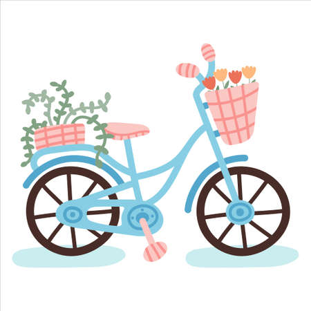 Illustration pour Hand drawn bicycle with plants isolated on white background. - image libre de droit
