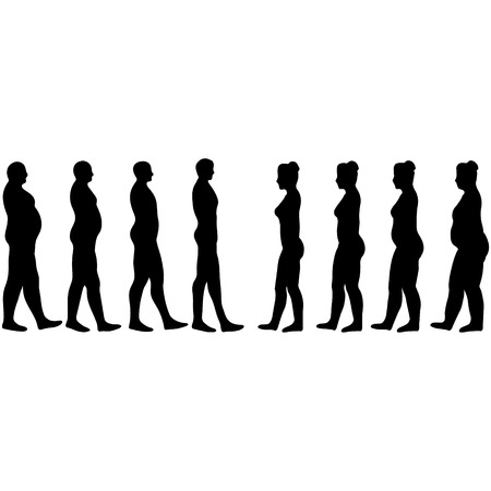 Illustration pour weight loss men and women, slimming silhouettes of men and women in vector on white - image libre de droit