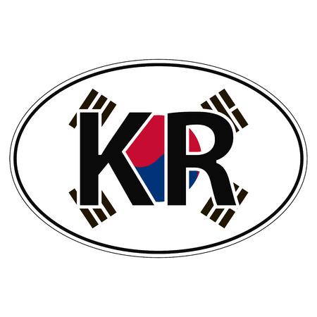 Sticker on car, flag korea, korean republic with the inscription KR vector for print or website design for language buttons