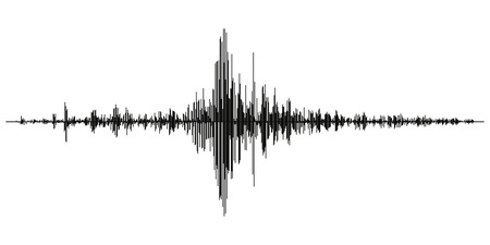 Illustration pour Seismogram of different seismic activity record vector illustration, earthquake wave on paper fixing, stereo audio wave diagram background. seismic tremors sign. Earthquake seismic activity - image libre de droit