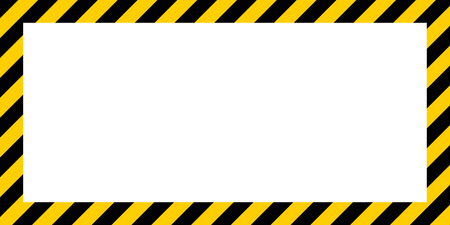 Ilustración de warning striped rectangular background, yellow and black stripes on the diagonal, a warning to be careful - the potential danger vector template sign border yellow and black color Construction warning border - Imagen libre de derechos