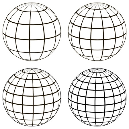 Ilustración de Set 3D ball globe model of the earth sphere with a coordinate grid, vector globe with meridian and parallel, longitude, map template - Imagen libre de derechos