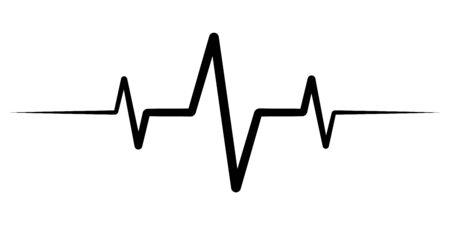 Illustration pour heart rate pulse, icon medicine logo, vector heartbeat heart rate icon, audio sound radio wave amplitude spikes - image libre de droit