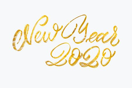 Photo for Happy New Year Calligraphy text with colorful hand drawn snowflakes Over Glitter background .Decorative Christmas and New Year party background. Happy New Year 2020 Celebration text. - Royalty Free Image