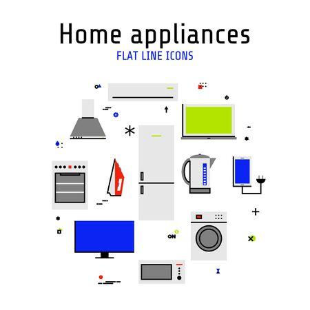 Illustration pour Vector home and kitchen appliances set of icons in flat line style - image libre de droit