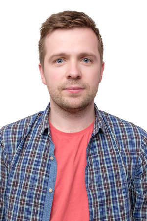 Photo pour ID picture of a guy in a checked shirt and pink t-shirt - image libre de droit